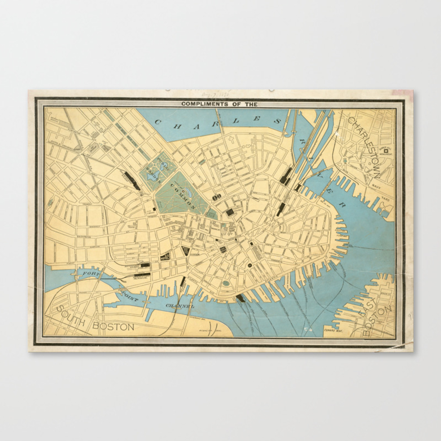 Picture of: Vintage Map Of Boston Ma 1890 Canvas Print By Bravuramedia Society6