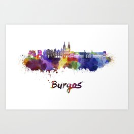 Burgos skyline in watercolor Art Print