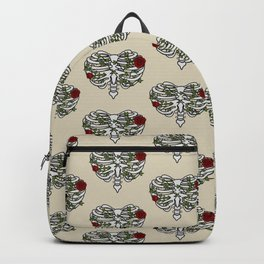 Heart Shaped Rib Cage Roses and Ivy Backpack