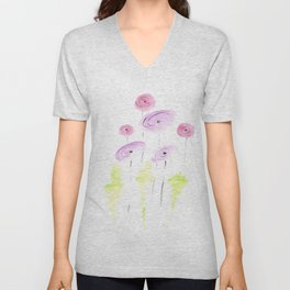 pink and coral poppy flowers Unisex V-Neck