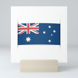 Flag of Australia. The slit in the paper with shadows. Mini Art Print
