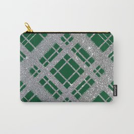 Silver Glitter Plaid on Emerald Green Graphic Design Pattern Carry-All Pouch
