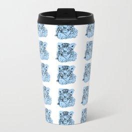 blue snow leopard Metal Travel Mug