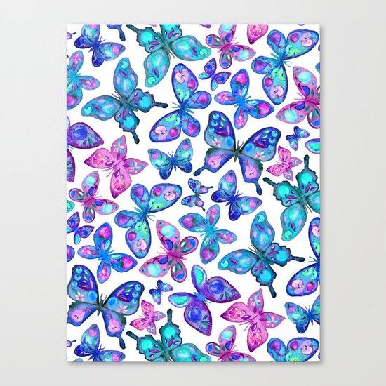 Watercolor Fruit Patterned Butterflies - aqua and sapphire Canvas Print