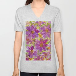Watercolor Wildflowers Unisex V-Neck