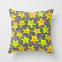 Yellow Bumblebee Flowers and Stripes Pattern Throw Pillow