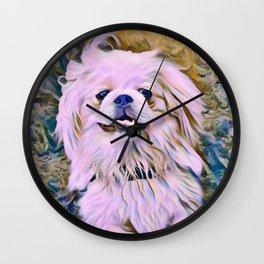 pekingese at the park Wall Clock