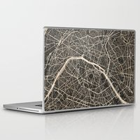 paris map Laptop & iPad Skins featuring Paris map by NJ-Illustrations