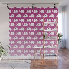 Elephants in Love (Pink) Wall Mural