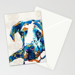 Great Dane Art - Stick With Me - By Sharon Cummings Stationery Cards