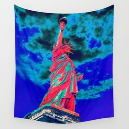 Futuristic red statue of liberty Wall Tapestry