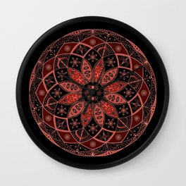 Autumn Fall Mandala Spirograph Art Pattern Design Rosette Wall Clock