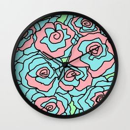 Doodle Art Flower Roses - Aqua Pink Wall Clock