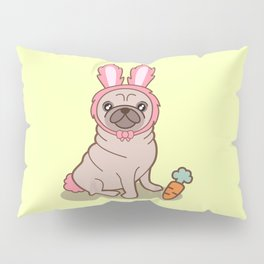 Pug dog in a rabbit costume Pillow Sham