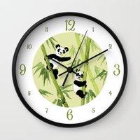 pandas Wall Clocks featuring Pandas by Volha