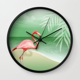 FLAMINGO BEACH | jade Wall Clock