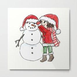 Cute Little Christmas Elf Peppermint Building a Snowman Metal Print