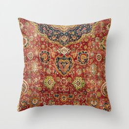 Indian Boho II // 16th Century Distressed Red Green Blue Flowery Colorful Ornate Rug Pattern Throw Pillow