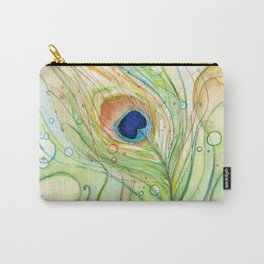 Peacock Feather Watercolor Pattern Carry-All Pouch