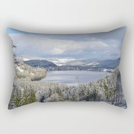 first snow on autumn leaves Rectangular Pillow