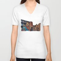 manchester V-neck T-shirts featuring Colourful MANchester by inkedsandra