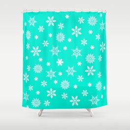 Snow Flurries-Frosty Blue Shower Curtain