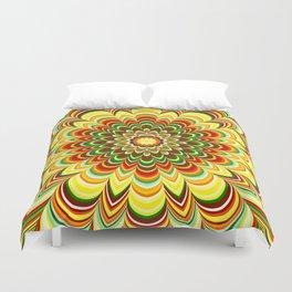 Colorful flower striped mandala Duvet Cover