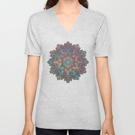 Winter Sunset Mandala in Charcoal, Mint and Melon Unisex V-Neck