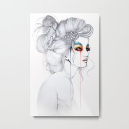 The Girl // Fashion Illustration Metal Print