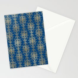 Elegant Blue and Gold Royal Damask Rows Pattern Stationery Cards