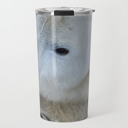 Funny Sleepy Polar bear close-up. Travel Mug