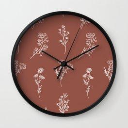Botanical Wildflowers Line Art Wall Clock