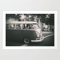volkswagen Art Prints featuring Volkswagen by Monica Galvan