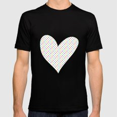 Love hearts Black MEDIUM Mens Fitted Tee