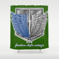 levi Shower Curtains featuring Freedom, hope and courage by Mareve Design