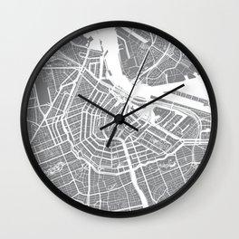 Grey City Map of Amsterdam, Netherlands Wall Clock