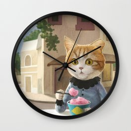 Yummy ice cream and a Cat Wall Clock