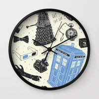 doctor Wall Clocks featuring Artifacts: Doctor Who by Josh Ln