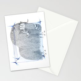 Muskox Ice Age pointillism and pencil crayons drawing Stationery Cards