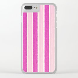 Pink Stripes Clear iPhone Case