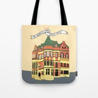 archer Tote Bags featuring Archer Ave. by andjburke