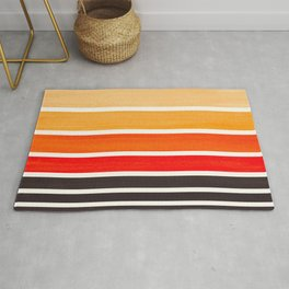 Orange Minimalist Mid Century Modern Color Fields Ombre Watercolor Staggered Squares Rug