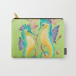 Seahorses Kelp Lime Carry-All Pouch