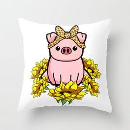 Pig Bandana Sunflower Throw Pillow