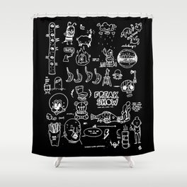 messy mind- freak show Shower Curtain