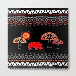 African Rhino (Hot colors) Metal Print