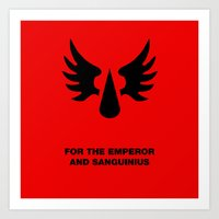 warhammer Art Prints featuring Warhammer 40k Blood Angels Minimalist Poster by Milos Cakovan