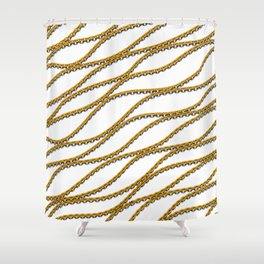 Wave Gold Chain White Shower Curtain