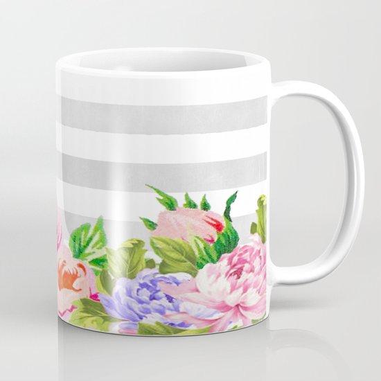 FLORAL GRAY STRIPES Coffee Mug