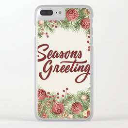 Vintage Christmas 27 Clear iPhone Case